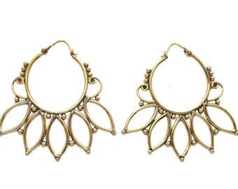 Tribal Hoops- Gypsy Hoops- Brass Jewelry- Boho Jewelry