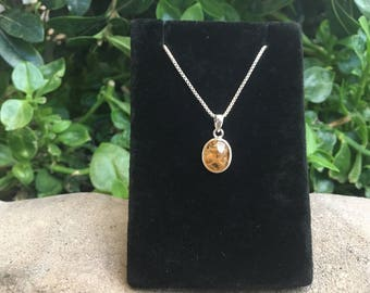 "Citrine Sterling Silver Pendant with 16"" Box Chain, Citrine Necklace, Yellow Citrine Stone"