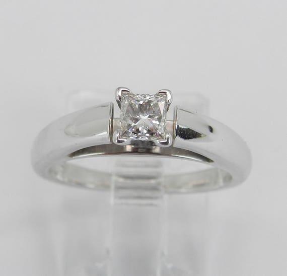 14K White Gold E SI2 Princess Cut Diamond Solitaire Engagement Ring Size 5