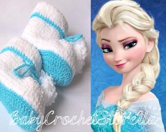 FROZEN Baby Crochet booties, Baby Crochet shoes, Crochet girl booties, Disney crochet booties, White crochet booties, Baby Gift, baby shower