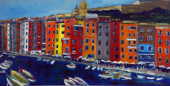 Cinque Terre - Italy Coastline fine Art Print Giclee from Original Oil Painting by BenWill