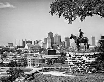Kansas City Skyline and The Scout Statue - Fine Art Photograph