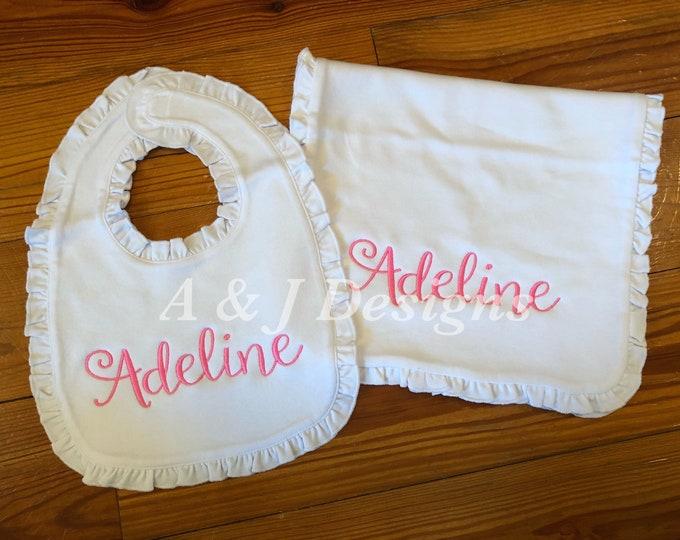 Baby Girl Monogrammed Ruffle Burp Cloth and Bib Set