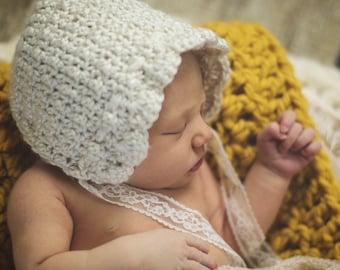 Cream and lace newborn bonnet. Newborn photography prop. Soft newborn baby bonnet. Baby gift. Baby hat. Baby bonnet.