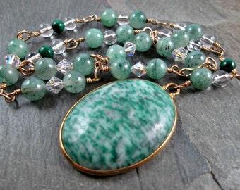 Gemstone Necklace - Green Gemstone - Malachite Necklace - Gold Fill Wire Wrap - Gemstone Jewelry
