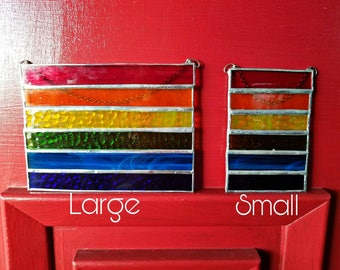 Rainbow stained glass  suncatcher, Large, all colors, stained glass