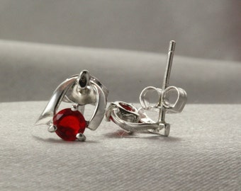 Tiny Earrings, Silver Studs for Everyday wear,Red Rock earrings, Earrings Handmade, Silver Earrings, Red Earring