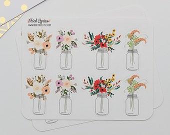 Mason Jars, Bouquet, Planner Stickers ECLP