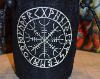 Norse Symbol Helm of Awe embroidered suede dice bag