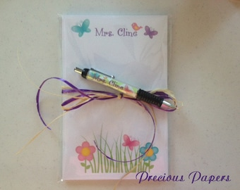 Personalized butterfly pen and note pad butterfly note pad and Pen set Teacher note pads teacher pens