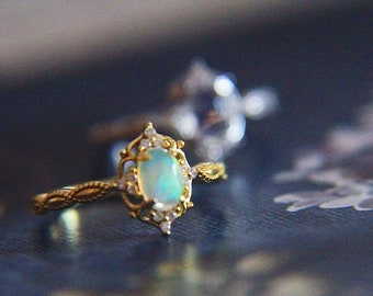 Opal Engagement Ring, Gold Opal Ring, Ethiopian Opal Ring, Vintage Engagement Ring,  Baroque Opal Ring, Opal Proposal Ring, 18k Gold Opal
