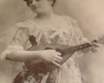 Vintage/Antique RPPC (Lady Playing Mandoline)