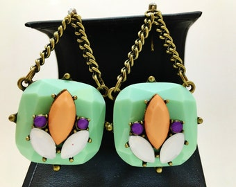 """Vintage Earrings Aqua Orange White Ultra Violet Soft Pastels Pronged Marques Faceted Dangle 3 1/2"""" Handmade Runway Summer Jewelry"""