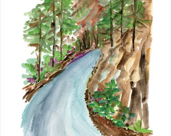 Great Smoky Mountains Watercolor Print with hand lettering -- mountain road, National Parks, Gatlinburg, Tennessee