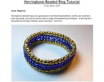 Beaded Herringbone Ring Tutorial, Beading Tutuorial, Bead Jewelry Tutorial, Seed Bead Ring Pattern