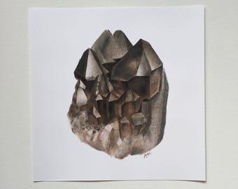 Smoky Quartz Colored Pencil Crystal Art Print