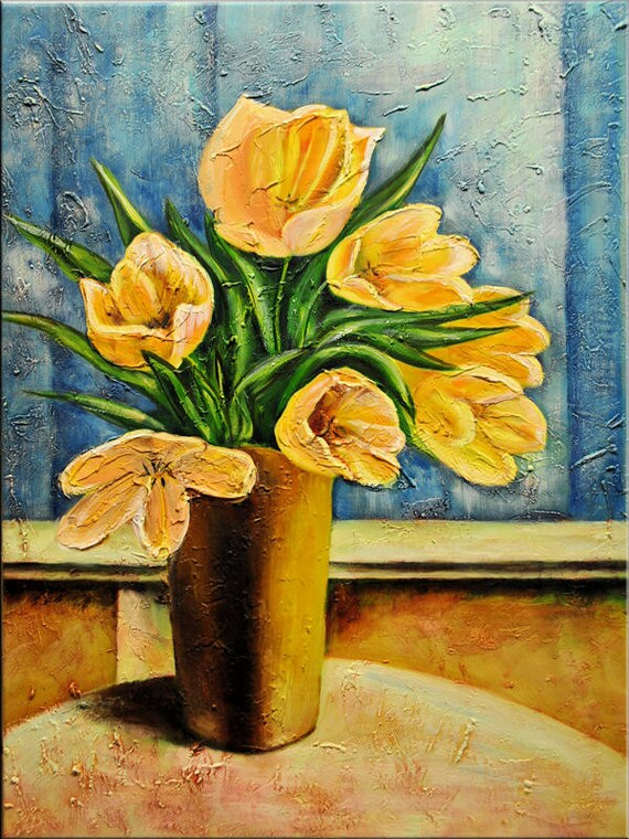 acrylic flower painting Ettis tulips canvas art blue yellow