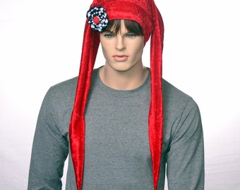 Red Jester Hat Extra Long with Ribbon Cockade Panne Velvet Long Points with Gold Bells Two Point Harlequin Hat