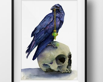 Raven and Skull Bringer of Light Watercolor Digital Print