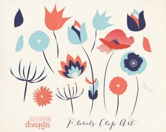 Flower Clipart Digital Clip Art, Vectors - Flowers, leaves