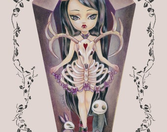 Eleanore LIMITED EDITION print signed numbered Simona Candini lowbrow pop surreal big eyes gothic girl coffin art