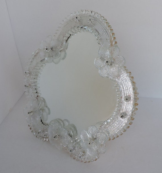 Vintage Venetian Murano Glass | Italy Glass Flower Mirror On Easel |  Antique Dresser Vanity Makeup Mirror | GreenTreeBoutique