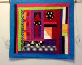 Wall Hanging Art Quilt Red Roof