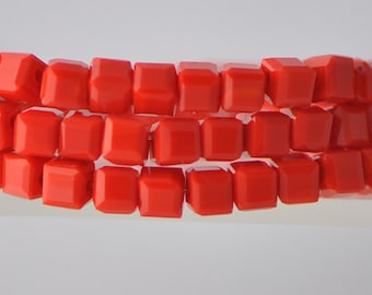 Cube Crystal Glass Faceted beads 4mm Opaque Red  -FZ0432/ Full strand