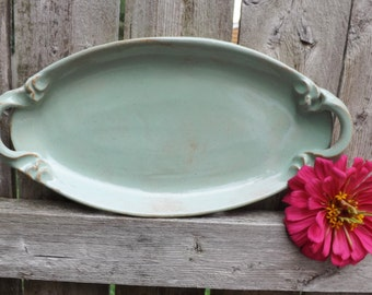 Ceramic Oval Platter, Serving Platter with Handles in Pistachio Green
