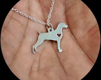Weimaraner Necklace - Engraving Pendant - Sterling Silver Jewelry - Gold Jewelry - Rose Gold Jewelry  Personalized Dog Jewelry Engrave Charm