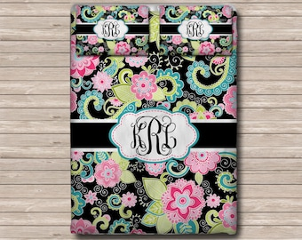 REVERSIBLE Personalized Monogram  Soft Duvet Cover OR Comforter - Toddler, Twin, Twin xl, Queen, or King - Floral Boho Chic