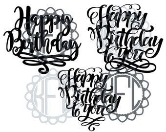 Happy Birthday sign best for cake topper PDF SVG EPS png(.studio3 & svg cut file) 3 designs