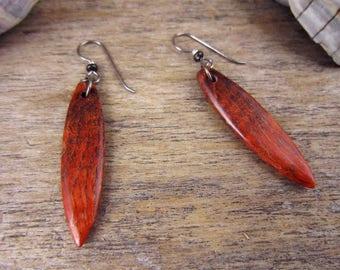 Orange Earrings, Wood Surfboard Earrings With Niobium Hook Wire, Resin Wood Jewelry, Orange Dangle Earrings, Earthy Surfboard Art