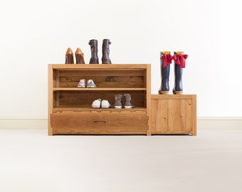 Shoe Rack - Entryway Furniture - Solid Oak Wood - Oak Bench - Drawer - Shoe Box - Geometric Style - Hallway Furniture - Oak Furniture