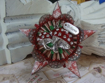 Altered Art, Assemblage, Steampunk Believe Christmas Star Ornament