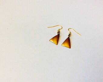 Raw Brass Triangle Earrings