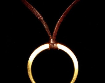 Crescent Moon Brass Pendant /Leather Necklace