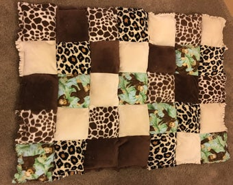 Toddler rag quilts - 45 l x 33 w jungle, or 42  x 37 w elephant