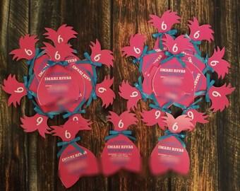 Trolls Birthday Invitations Poppy with ribbon accent