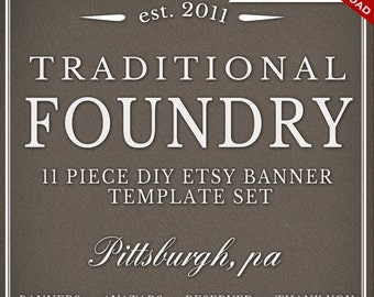 Custom Etsy Banner and Avatar Design Set - 11 Piece Foundry DIY Template Shop Set - Clean Minimalist Simple Classic Masculine Brewing fdr