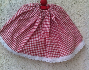 Red and white gingham Plaid skirt