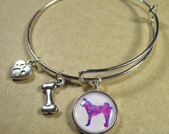 Husky Bangle Bracelet, Husky Bracelet, Husky Jewelry, Husky Gifts, Siberian Husky, Husky Mom Gifts, Husky Stuff, Siberian Husky Expand It
