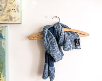 Blue tones dual coloured handknit scarf / Bengt Ludvig // unisex  lightweight  muted petrol blue