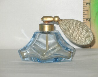 Vintage Blue Crystal Perfume Bottle with Metal Cap & Atomizer