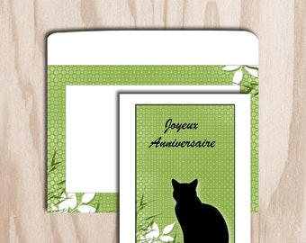 Birthday card and envelope digital print - green plant background sitting cat figure