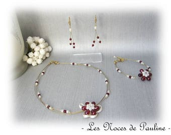 Burgundy, ivory wedding dress and Golden Sophie ' Tradition' 3 pieces