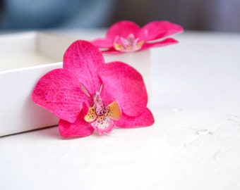 Orchid earrings, orchid jewelry, orchid, earrings, hand painted, jewelry, painted flowers, painted flower,
