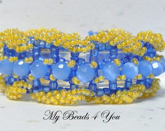 Beadwork Bracelet, Seed Bead Bracelet, Beadwoven Bracelet, Embellished Bracelet, Beaded Bracelet, Blue Crystal Bracelet, Gift for Her