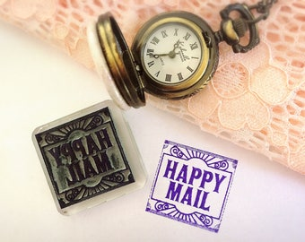 Happy Mail Stamp ~ snail mail rubber stamp, art deco, pen pal, pretty packaging, postcrossing, postmark, tiny tree gifts, air mail, vintage