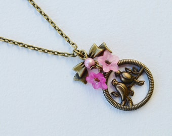 Retro pink romantic necklace birds and flowers